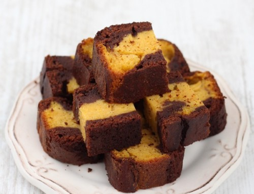 Chocolate and butternut squash marble cake