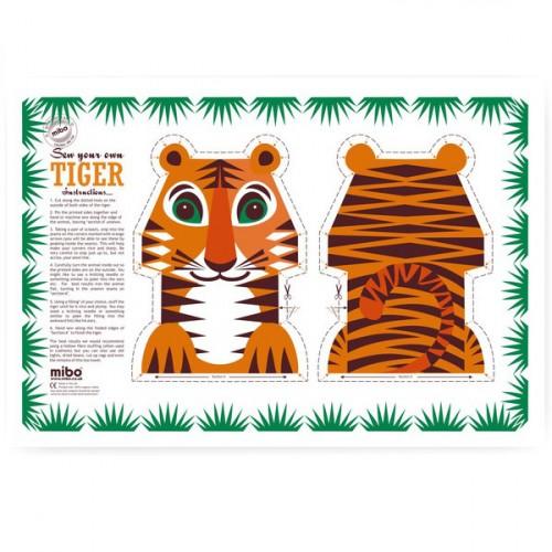 2-in-1 tea towel & stuffed toy, organic cotton – Tiger
