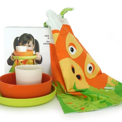 Children's tableware set, bamboo and organic cotton – Orangutan