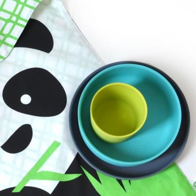 Children's tableware set, bamboo and organic cotton – Panda