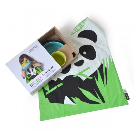 Children's tableware set, bamboo and organic cotton – Panda