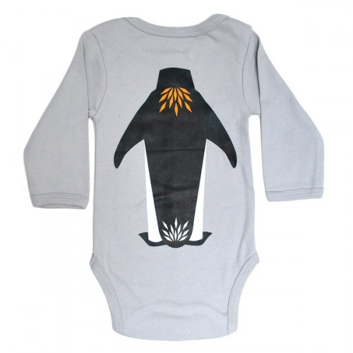 Baby gift set:  organic cotton matching bodysuit, bib and suitcase – Penguin