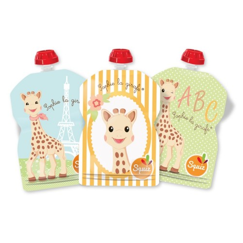 Reusable food pouches for babies – Set of 3 – Squiz Sophie la giraffe®- 90ml