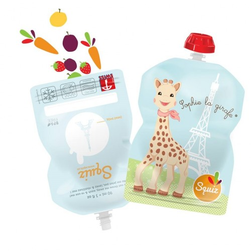 Reusable food pouches for babies – Set of 3 – Squiz Sophie la giraffe® - Instructions