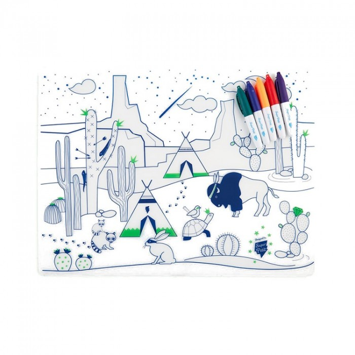 Reusable colouring in placemat set – Cactus