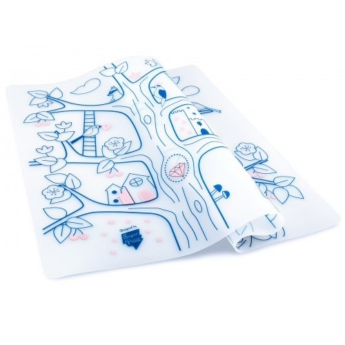 Reusable colouring in placemat set, soft silicone – Super Petit - Magic tree - Croque-Maman - Mat