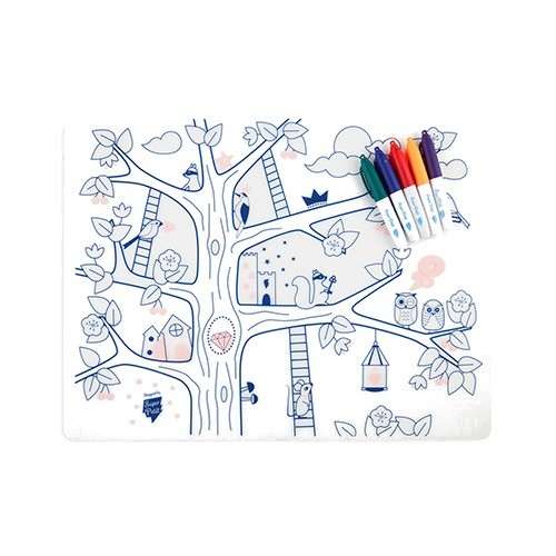 Reusable colouring in placemat set, soft silicone – Super Petit - Magic tree - Croque-Maman - Mat + pen