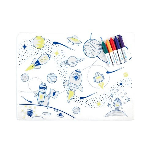 Reusable colouring in placemat set, soft silicone – Super Petit - Space - Croque-Maman - Mat + Pen