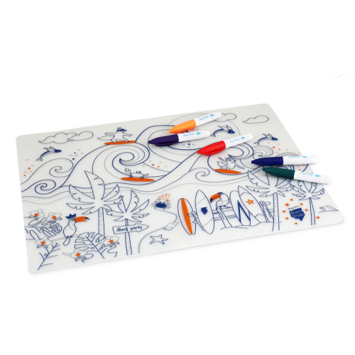 Reusable colouring in placemat set, soft silicone – Super Petit - Surf - Croque-Maman - Mat + Pen