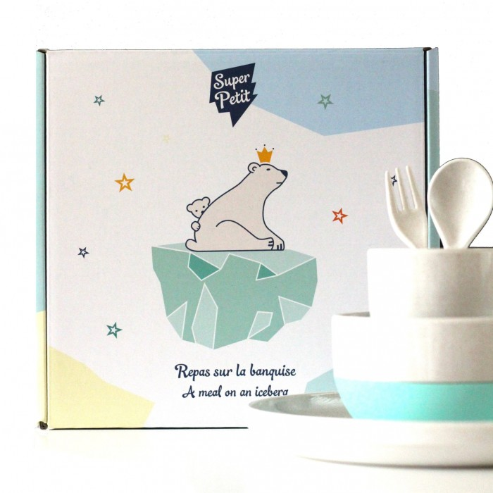 Children's dinner set - bamboo and silicone - Iceberg - Croque-Maman - Super Petit