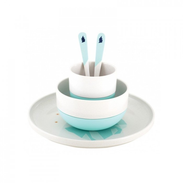 Children's dinner set - bamboo and silicone - Iceberg - Croque-Maman - Super Petit - Set