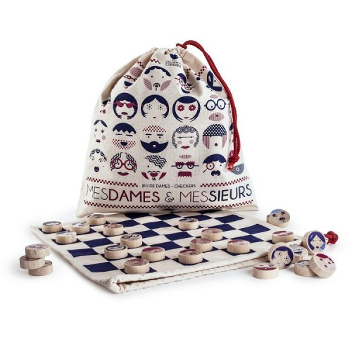 Play' Checkers Draughts travel game - Mesdames Messieurs (bag) - Les jouets libres - Croque-Maman