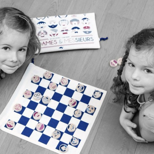Play' Checkers Draughts travel game - Mesdames Messieurs (girls) - Les jouets libres - Croque-Maman