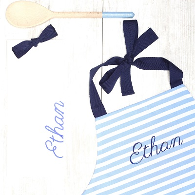 Boys personalised children apron and spoon, navy blue - Packaging - Croque-Maman