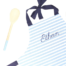 Boys personalised children apron and spoon, navy blue W- Croque-Maman