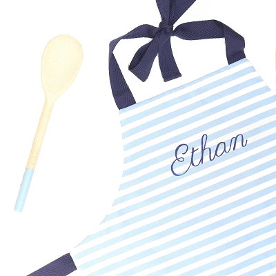 Personalised children's apron & spoon, navy blue