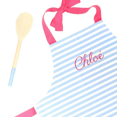 Personalised children's apron & spoon, fushia pink