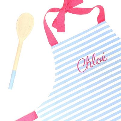 Personalised children's apron & spoon, fushia pink
