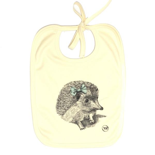 Organic cotton baby bib – Miss Hedgehog