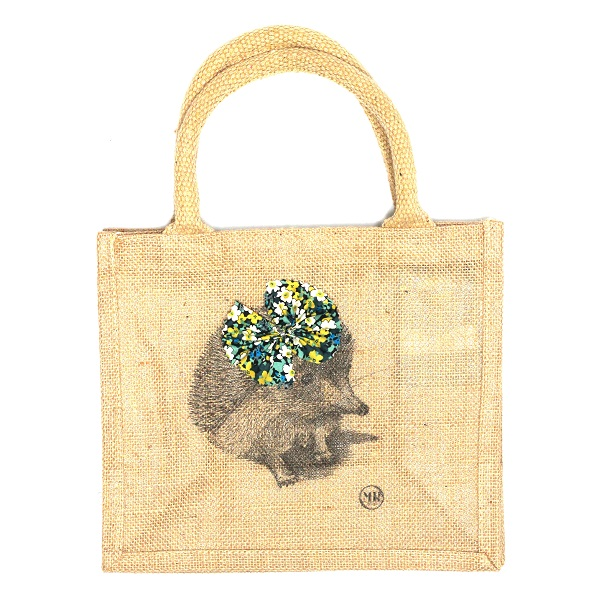Children jute shopping bag – Miss Hedgehog