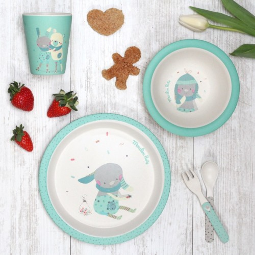 Bamboo kids tableware - Les Jolis Trop Beaux - Green - Lifestyle - Moulin Roty - Croque-Maman