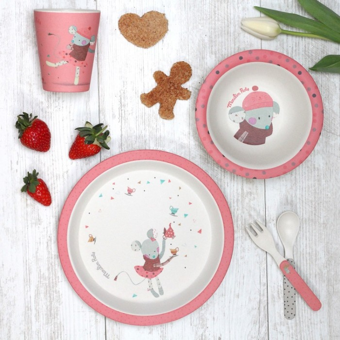 Bamboo kids tableware – Les Jolis Trop Beaux – Pink