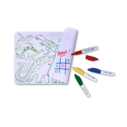 Mini colour and erase mat, with pens – Dinosaurs
