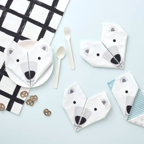 Origami cotton napkins – Set of 4 – Polar bear