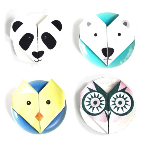Origami cotton napkins – Set of 4 – Owl, bear, chick, panda